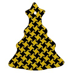 Houndstooth2 Black Marble & Yellow Colored Pencil Christmas Tree Ornament (two Sides)