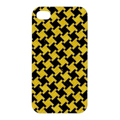 Houndstooth2 Black Marble & Yellow Colored Pencil Apple Iphone 4/4s Hardshell Case
