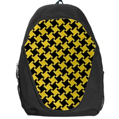 Houndstooth2 Black Marble & Yellow Colored Pencil Backpack Bag