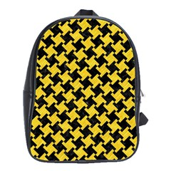 Houndstooth2 Black Marble & Yellow Colored Pencil School Bag (xl)