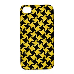 Houndstooth2 Black Marble & Yellow Colored Pencil Apple Iphone 4/4s Hardshell Case With Stand