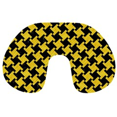 Houndstooth2 Black Marble & Yellow Colored Pencil Travel Neck Pillows