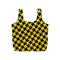 Houndstooth2 Black Marble & Yellow Colored Pencil Full Print Recycle Bags (s)