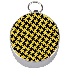 Houndstooth2 Black Marble & Yellow Colored Pencil Silver Compasses