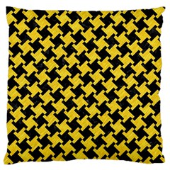 Houndstooth2 Black Marble & Yellow Colored Pencil Large Flano Cushion Case (one Side)