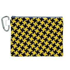Houndstooth2 Black Marble & Yellow Colored Pencil Canvas Cosmetic Bag (xl)