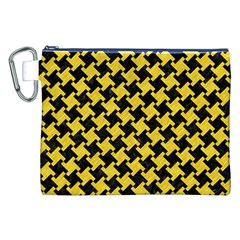 Houndstooth2 Black Marble & Yellow Colored Pencil Canvas Cosmetic Bag (xxl)