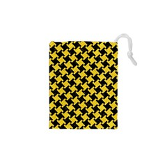 Houndstooth2 Black Marble & Yellow Colored Pencil Drawstring Pouches (xs)