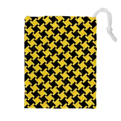 Houndstooth2 Black Marble & Yellow Colored Pencil Drawstring Pouches (extra Large)