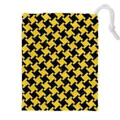 Houndstooth2 Black Marble & Yellow Colored Pencil Drawstring Pouches (xxl)