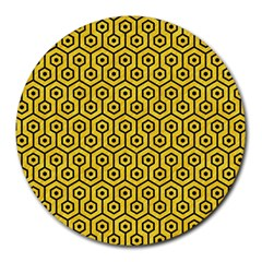 Hexagon1 Black Marble & Yellow Colored Pencil Round Mousepads