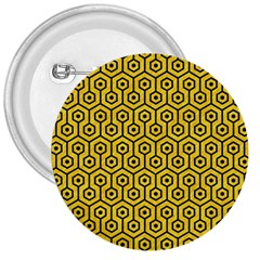 Hexagon1 Black Marble & Yellow Colored Pencil 3  Buttons