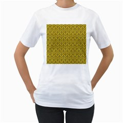 Hexagon1 Black Marble & Yellow Colored Pencil Women s T Shirt (white) (two Sided)