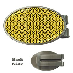 Hexagon1 Black Marble & Yellow Colored Pencil Money Clips (oval)