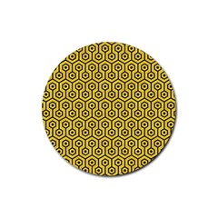 Hexagon1 Black Marble & Yellow Colored Pencil Rubber Coaster (round)