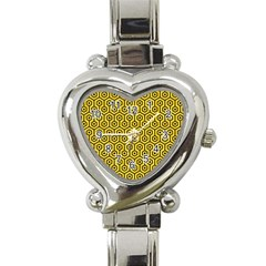 Hexagon1 Black Marble & Yellow Colored Pencil Heart Italian Charm Watch