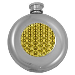 Hexagon1 Black Marble & Yellow Colored Pencil Round Hip Flask (5 Oz)