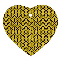 Hexagon1 Black Marble & Yellow Colored Pencil Heart Ornament (two Sides)