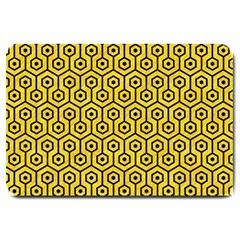 Hexagon1 Black Marble & Yellow Colored Pencil Large Doormat