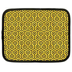 Hexagon1 Black Marble & Yellow Colored Pencil Netbook Case (large)