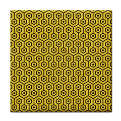 Hexagon1 Black Marble & Yellow Colored Pencil Face Towel