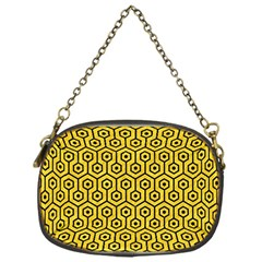 Hexagon1 Black Marble & Yellow Colored Pencil Chain Purses (one Side)