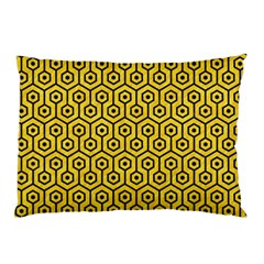 Hexagon1 Black Marble & Yellow Colored Pencil Pillow Case