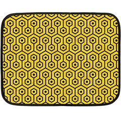 Hexagon1 Black Marble & Yellow Colored Pencil Double Sided Fleece Blanket (mini)