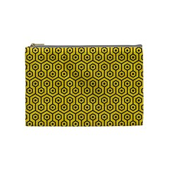 Hexagon1 Black Marble & Yellow Colored Pencil Cosmetic Bag (medium)