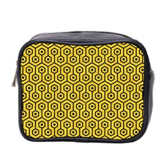 Hexagon1 Black Marble & Yellow Colored Pencil Mini Toiletries Bag 2 Side