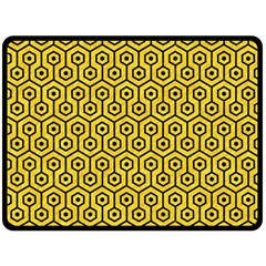 Hexagon1 Black Marble & Yellow Colored Pencil Fleece Blanket (large)