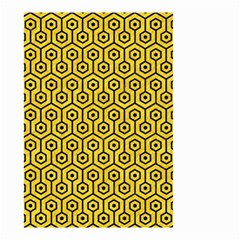 Hexagon1 Black Marble & Yellow Colored Pencil Small Garden Flag (two Sides)