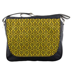Hexagon1 Black Marble & Yellow Colored Pencil Messenger Bags