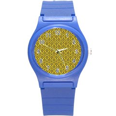 Hexagon1 Black Marble & Yellow Colored Pencil Round Plastic Sport Watch (s)
