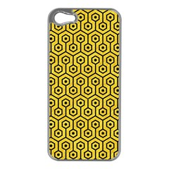 Hexagon1 Black Marble & Yellow Colored Pencil Apple Iphone 5 Case (silver)