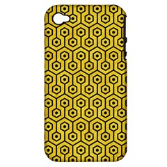 Hexagon1 Black Marble & Yellow Colored Pencil Apple Iphone 4/4s Hardshell Case (pc+silicone)