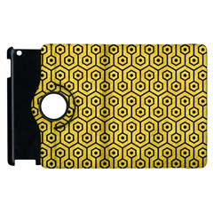 Hexagon1 Black Marble & Yellow Colored Pencil Apple Ipad 2 Flip 360 Case