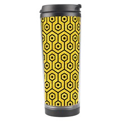 Hexagon1 Black Marble & Yellow Colored Pencil Travel Tumbler