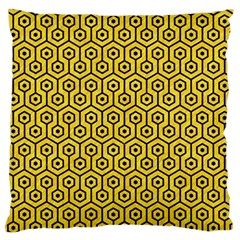 Hexagon1 Black Marble & Yellow Colored Pencil Standard Flano Cushion Case (one Side)