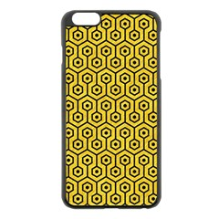 Hexagon1 Black Marble & Yellow Colored Pencil Apple Iphone 6 Plus/6s Plus Black Enamel Case