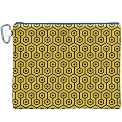 Hexagon1 Black Marble & Yellow Colored Pencil Canvas Cosmetic Bag (xxxl)