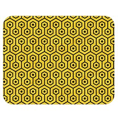 Hexagon1 Black Marble & Yellow Colored Pencil Double Sided Flano Blanket (medium)