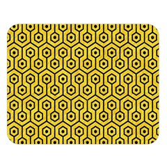 Hexagon1 Black Marble & Yellow Colored Pencil Double Sided Flano Blanket (large)