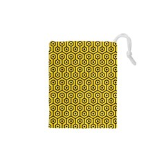 Hexagon1 Black Marble & Yellow Colored Pencil Drawstring Pouches (xs)