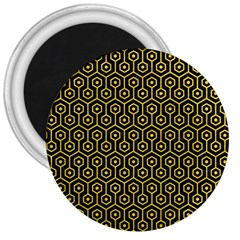 Hexagon1 Black Marble & Yellow Colored Pencil (r) 3  Magnets