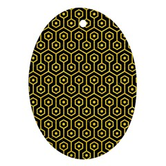 Hexagon1 Black Marble & Yellow Colored Pencil (r) Ornament (oval)