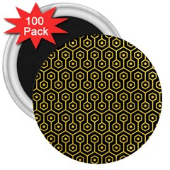 Hexagon1 Black Marble & Yellow Colored Pencil (r) 3  Magnets (100 Pack)