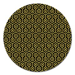 Hexagon1 Black Marble & Yellow Colored Pencil (r) Magnet 5  (round)