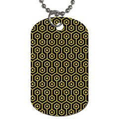 Hexagon1 Black Marble & Yellow Colored Pencil (r) Dog Tag (one Side)