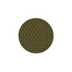 Hexagon1 Black Marble & Yellow Colored Pencil (r) Golf Ball Marker (10 Pack)